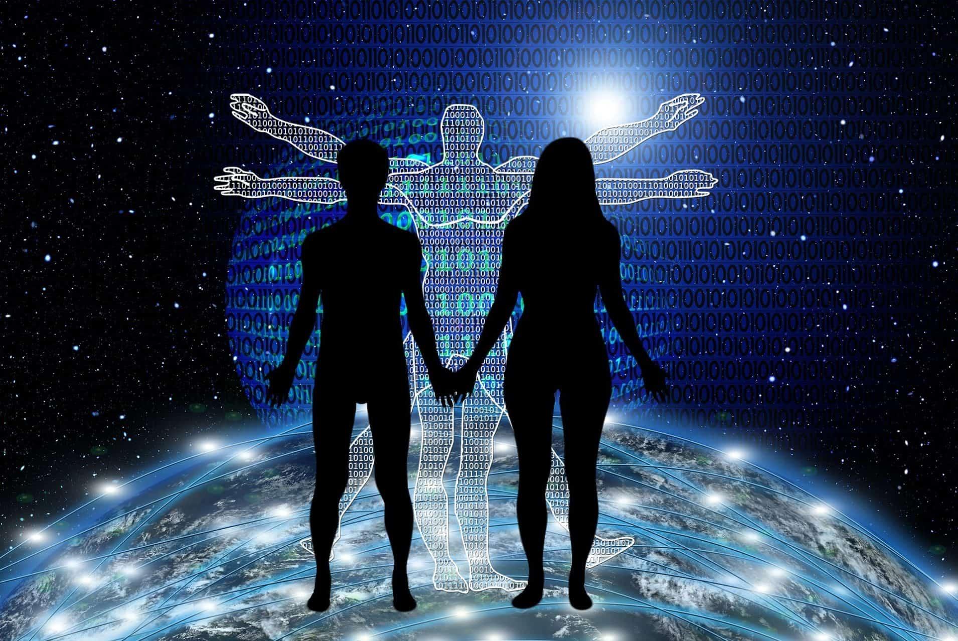 Traumbild eines Paares: Alles ist mit Allem im Universum verbunden!